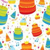 Hand dragen modell med födelsedagbeståndsdelar Berömkakor och festliga lock färgrikt seamless för bakgrund Royaltyfri Fotografi