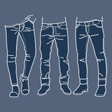 Hand dragen modesamling av mäns jeans också vektor för coreldrawillustration Arkivfoton