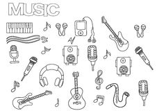Hand dragen musikuppsättning Mall för sida för färgläggningbok stock illustrationer
