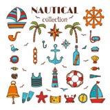 Hand dragen nautisk samling Hav och hav Marin- symbolsuppsättning royaltyfri illustrationer