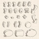hand dragen nummer 3D och dialog stock illustrationer