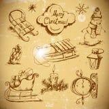Hand-dragen nytt års- och juluppsättning stock illustrationer