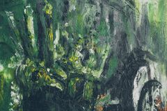Hand dragen olje- målning abstrakt bakgrundsgreen Oljemålning på kanfas royaltyfri foto