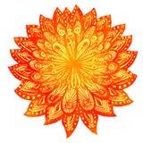 Hand dragen orange blomma för vattenfärgklotter indier Royaltyfri Foto
