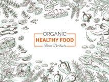 Hand dragen organisk mat Sunda grönsaker och kryddabakgrund, gourmet- fiskmenytappning skissar Vektormenydesign stock illustrationer