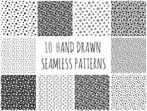 Hand dragen polka Dot Patterns Collection Royaltyfria Bilder