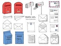 Hand dragen post, stolpe, bokstav, kuvert, plan tecknad filmuppsättning för papper också vektor för coreldrawillustration Dekorat vektor illustrationer