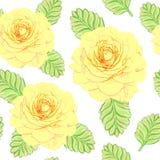 Hand dragen prydnad med gula rosor Royaltyfria Foton