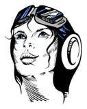 Hand-dragen retro kvinnlig stående av en pilot Royaltyfri Foto