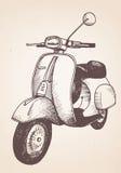 Hand dragen retro sparkcykel Fotografering för Bildbyråer