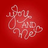 Hand dragen romantisk typografiaffisch Arkivfoton