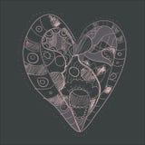 Hand dragen rosa hjärta Vektor Illustrationer