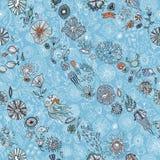 Hand dragen sömlös bakgrund för undervattens- värld vektor illustrationer