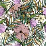 Hand dragen sömlös bakgrund med palmblad och blommor Arkivbild
