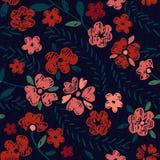 Hand dragen sömlös blommamodell Royaltyfria Bilder