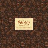Hand dragen sömlös modell för bageriprodukter Fotografering för Bildbyråer