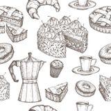 Hand dragen sömlös modell för kaffe och för efterrätt royaltyfri illustrationer