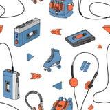 Hand dragen sömlös modell för klotter med tonåriga beståndsdelar Retro ljudsignal spelare, kassett, hörlurar, rullskridskor, rygg Royaltyfri Foto