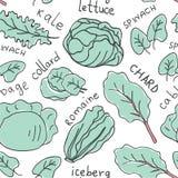 Hand dragen sömlös modell för klottergrönsaker stock illustrationer