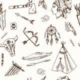 Hand dragen sömlös modell för klotterindianer Arkivbilder