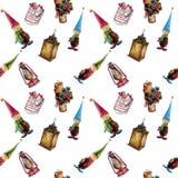 Hand-dragen sömlös modell för vattenfärg Julpynt lyktor, gåvor, gnomer Passande för utskrift på vektor illustrationer