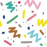 Hand dragen sömlös modell för vektor i memphis stil med färgrika band, sicksack och klickar på vit bakgrund Arkivfoton