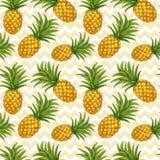 Hand dragen sömlös modell med ananas stock illustrationer