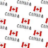 Hand dragen sömlös modell med den Kanada flaggan och klotterbokstäver Kanadensisk bakgrund med nationsflaggan för design stock illustrationer