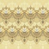 Hand-dragen sömlös modell med lotusblomma i östlig stil Royaltyfri Foto
