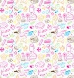 Hand dragen sötsak- och godismodell Vektorklotter Isolerad mat på vit bakgrund seamless textur stock illustrationer