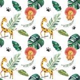 Hand-dragen s?ml?s modell f?r vattenf?rg Gr?na tropiska sidor och vilda djur p? vit bakgrund stock illustrationer