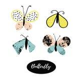 Hand dragen samling för fjärilslogodesign Shoppa etiketter och symboler Arkivfoto
