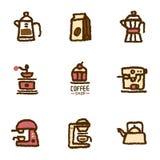 Hand dragen samling för kaffeuppsättning Stock Illustrationer