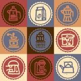 Hand dragen samling för kaffeuppsättning Royaltyfri Illustrationer