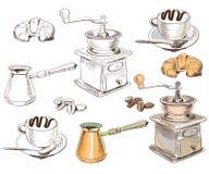 Hand dragen samling för kaffeuppsättning Arkivbild