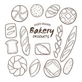 Hand dragen samling för nytt bröd Arkivfoton