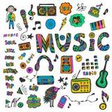 Hand-dragen samling med musikklotter Färgrika fastställda musiksymboler härligt klänningmode blommar för fredfjäder för grön hipp Royaltyfri Foto