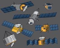 Hand dragen satellit- vektoruppsättning Arkivfoto
