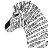 Hand dragen sebrazentanglestil för färgläggningboken, tatuering, t-skjortadesign, logo Royaltyfria Bilder