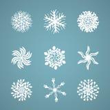 Hand dragen snöflingavinteruppsättning Arkivbilder