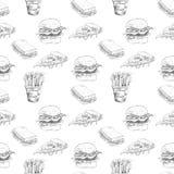 Hand dragen snabbmatmodell Hamburgaren pizza, fransman steker detaljerade illustrationer Utmärkt för restaurangmeny eller baner stock illustrationer