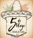 Hand dragen sombrero för mexikanen Cinco de Mayo Celebration, vektorillustration Arkivfoto