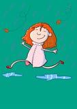 Hand dragen spring för flicka för tecknad filmstil lycklig gullig under nedgångregn Arkivfoton