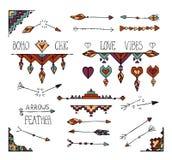 Hand dragen stam- beståndsdelsamling för färgrik boho Royaltyfria Bilder