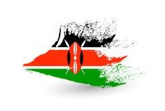 Hand dragen stilflagga av Kenya vektor illustrationer