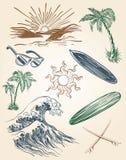Hand dragen strand- och bränningillustrationuppsättning Royaltyfria Bilder