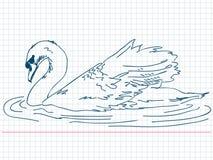 Hand dragen svan stock illustrationer