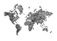 Hand dragen svartvit affischvärldskarta Royaltyfri Foto
