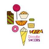 Hand dragen symbolsuppsättning av kakor, choklader, kakor och godisar Arkivfoto