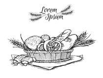 Hand dragen tappningvektorillustration - bagerit shoppar vektor illustrationer